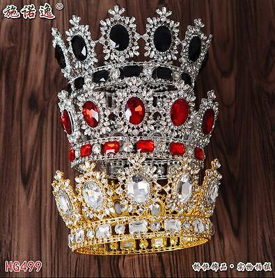 New Rhinestone Wedding Bridal Party Pageant Prom Tiara Crown Gold/Red/Blue/Black