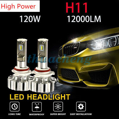 H11 PHILIPS 120W 12000LM LED Headlight Kit Conversion Bulbs 6000K Canbus Power