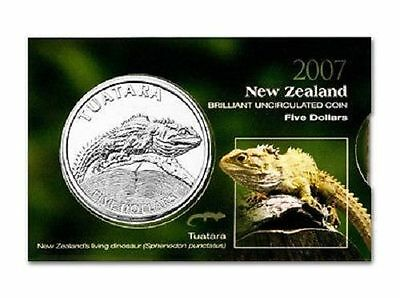 New Zealand Five Dollar 2007 Tuatara Coin Rare (UNC)