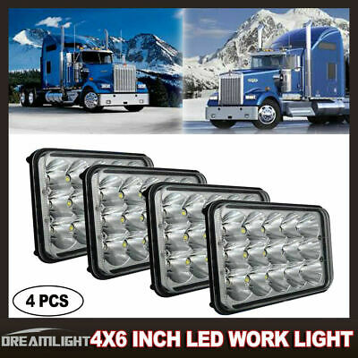 "4Pcs 4""x6"" Sealed Beam Headlamp LED Headlights For Kenworth T400 T600 T800 W900"