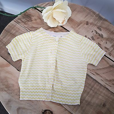 Baby Girl COUNTRY ROAD Yellow & White Stripe Short Sleeve Cardigan Size 0 6-12M