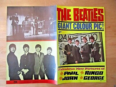 Rare Original 1964 The Beatles Giant Color Pic Fold Out Poster Book U.k. Dezo H.