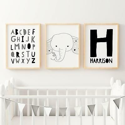Nursery Bedroom Wall Art Prints-Baby Kids-Personalised Name, Elephant, Alphabet,