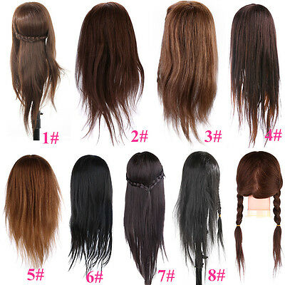 Hairdressing Salon Practice Training Head Cosmetology Mannequin Real Human Hair