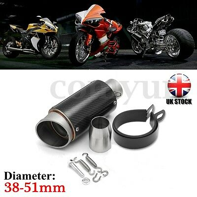 38-51mm Universal 245mm Motorcycle Carbon Fiber Cylinder Exhaust Muffler Pipe