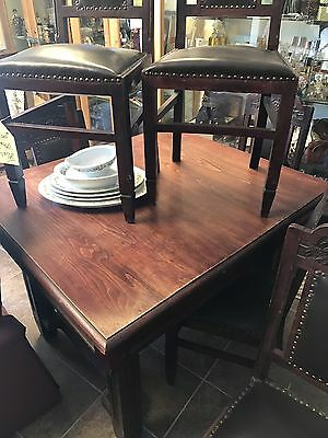 Fabulous Vintage Wood Dining Table With Leather And Wood Tufted Chairs