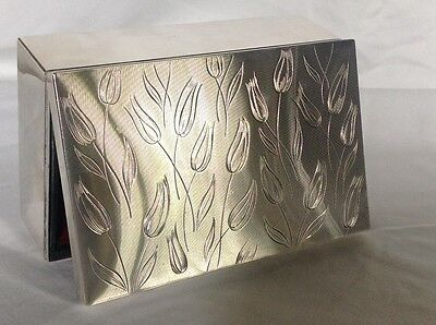 ART DECO MACHINE AGE ENGINE ENGRAVED STERLING SILVER JEWELRY BOX c.1940's