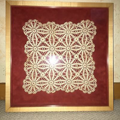 Antique Table Mat Lace Square Crochet Doilie Framed Shadow Box