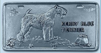 Kerry Blue Terrier Pewter Vanity Plate