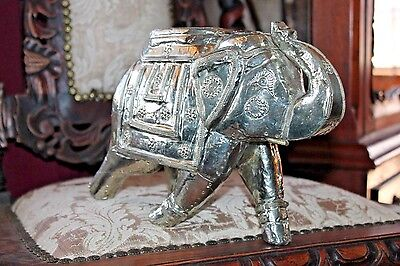 Congo Elephant Hand Carved Statue Hammered Silver Metal TRUNK UP Luck Feng Shui
