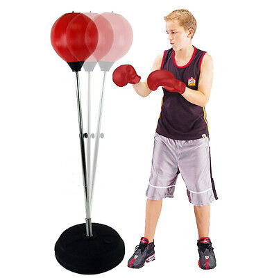 Free Standing Speed Ball Speedball Boxing Punch Bag Gloves Punching Kids