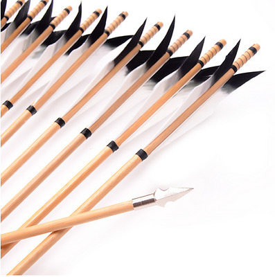"""12x 31"""" wood arrows black Spirit feathers  hunting recurve bow long bow Shooting"""