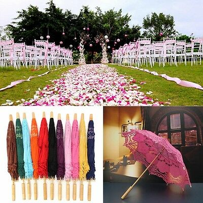 "26""Vintage Lady Handmade Cotton Lace Wedding Sun Umbrella Bridal Parasol Party"