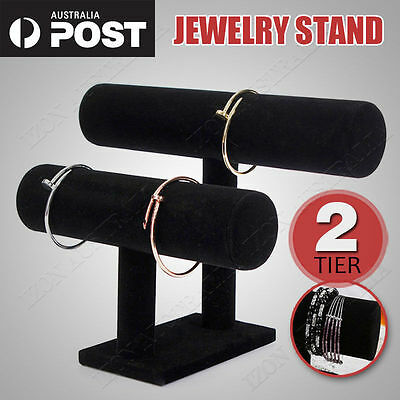 2-tier Black Removable Velvet Jewelry Display Bracelet Rack Show Watch Holder