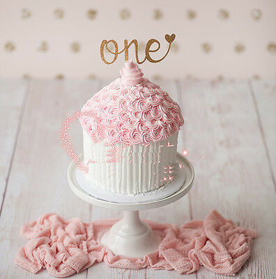 1X Glitter Gold Silver One Cake Topper 1st Birthday Baby Girl Boy Photo Props