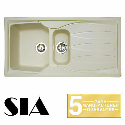 SIA CASA 1.5 Bowl Composite Cream Kitchen Sink & Waste Kit | Reversible Drainer