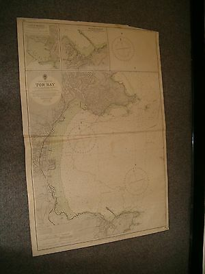 Vintage Admiralty Chart 26 UK - TOR BAY 1952 edn