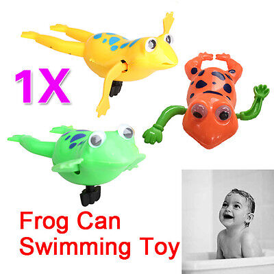 Baby Swimming Frog Shower Fun Time Pool Bath  Toy Wind-Up Swim Frogs Kids Toy