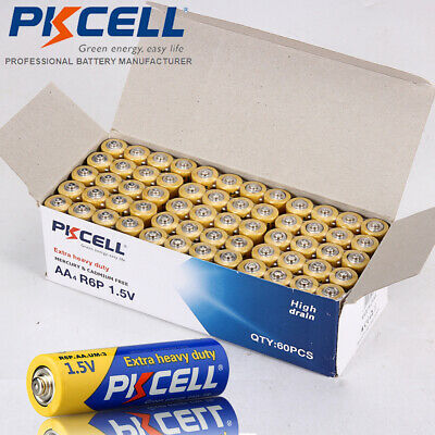 60pcs AA Batteries 1.5V R6P UM3 Zinc-Carbon Remote Toys Battery PKCELL