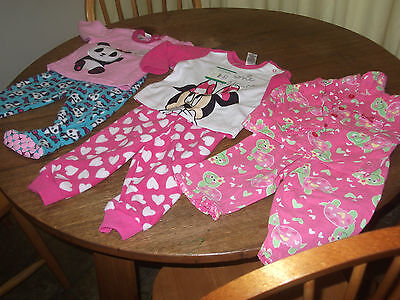 Three Pairs Size 0 Winter Pyjamas, New And Pre Owned.