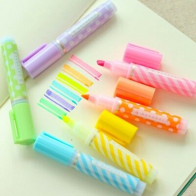 Y18 Set of 6 Cute Mini Dots Striped Highlighter Paint Marker Pen Drawing Liquid