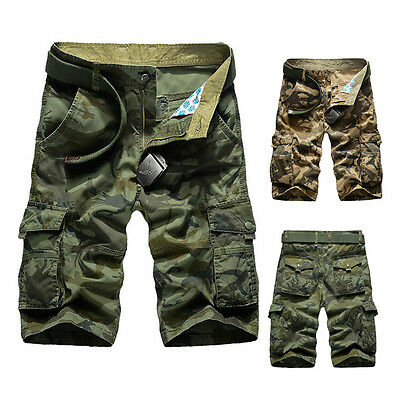Summer Mens Casual Army Cargo Combat Camo Camouflage Overall Shorts Sports Pants