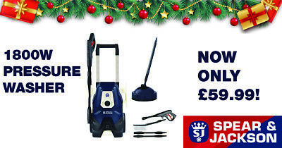 RRP £119.99 Spear & Jackson 1800W 130Bar High Pressure Washer with Patio Cleaner
