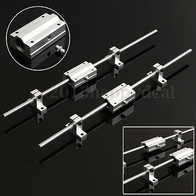 2Pcs 8mm 400mm Linear Shaft Rod Rail + 2 SCS8LUU Bearing Slide Block For CNC