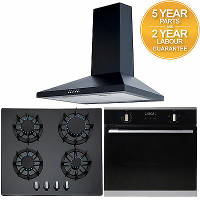 SIA 60cm Built In Electric Single Oven, Black Gas Hob & Chimney Cooker Hood