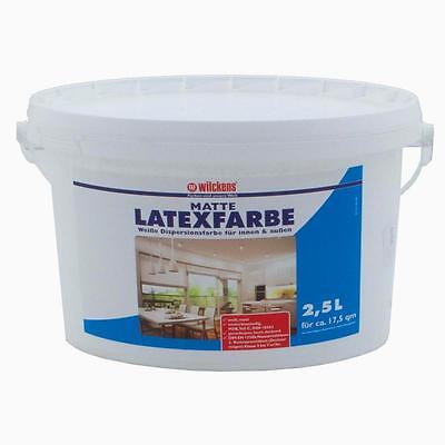 Latex Paint Flat Gloss 2.5l Wilckens Latex Painting indoor outdoor (3,80£/1l)