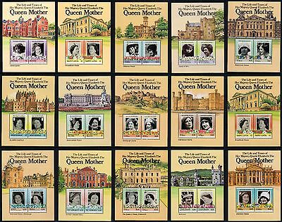 15 Miniature Sheets 1985 Queen Mother St. Vincent Tuvalu Nevis  St Lucia etc MNH