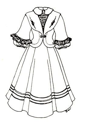 "16 - 17 "" DOLL DRESS pattern victorian Greman French ANTIQUE vintage look 274"