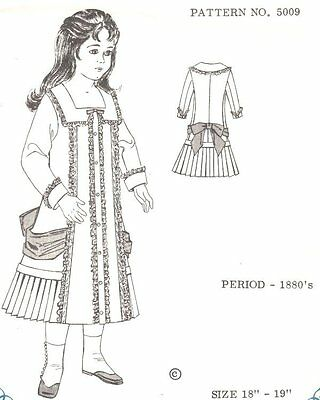 Period DOLL DRESS PATTERN Victorian  German  French ANTIQUE / vintage look #5009
