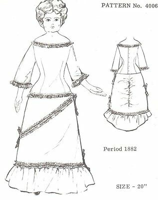 Period DOLL DRESS PATTERN Victorian  German  French ANTIQUE / vintage look #4006