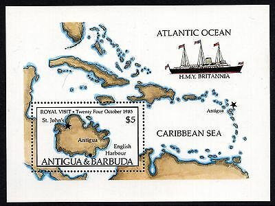 Antigua Barbuda 1985 Royal Visit Ship Map Miniature Sheet Unmounted Mint