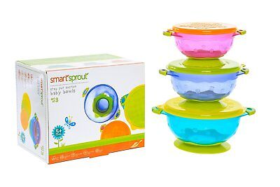 Baby Suction Bowls - Set of 3 FDA Approved Stay Put Bowls w/ Snap Tight Lids