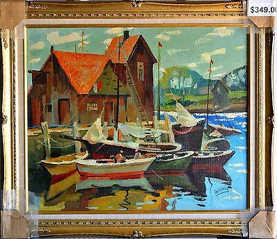 Aksinia-Yachts-Untitled Framed ORIGINAL Oil Painting on Canvas, Hand Signed!
