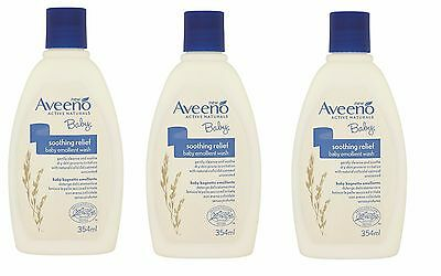 3 x Aveeno Baby Soothing Relief Baby Emollient Wash 354ml