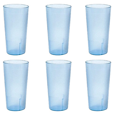 6 Pc 12oz Sturdy Stackable Space-Saving Tumbler Cup Glass Set For Beverages Blue