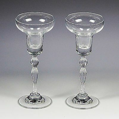 Pair of Vintage Gorham clear crystal candle holders candleholders glass