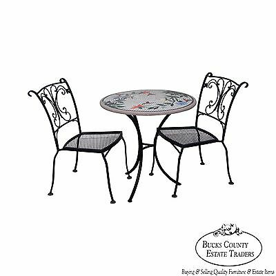 Quality Wrought Iron 3 Piece Bistro Set w/ Round Mosaic Tile Concrete Top
