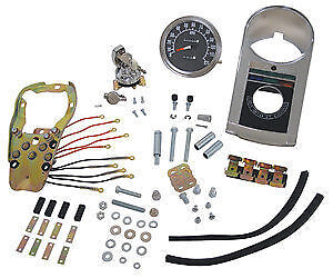 New Late Style Dash Kit 1:1 Speedometer For Harley 47-90 Solid Mount & Flat Side