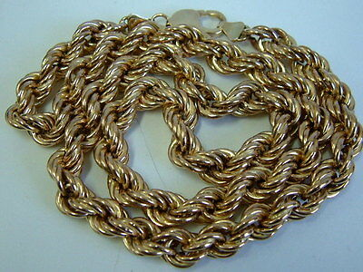9Ct Yellow Gold Thick Chunky Rope Linked Necklet/chain - 21 Inches- One Ounce