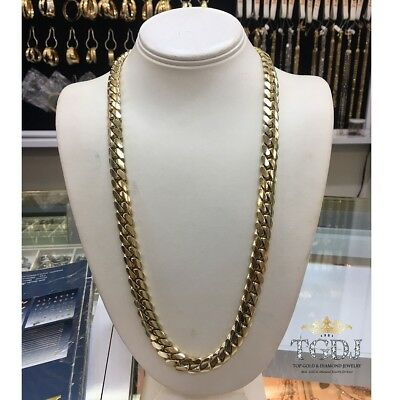 """14k Solid Yellow Gold Miami Cuban Curb Link 26"""" 11.5mm 226 grams chain/Necklace"""
