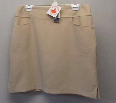 New Ladies Size 12 Dexim flat front Golf polyester skorts beige Made in Canada