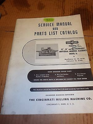 Cincinnati Service Manual & Parts Catalog_2U, 3U-De_G-698_Model Ll_Grinding