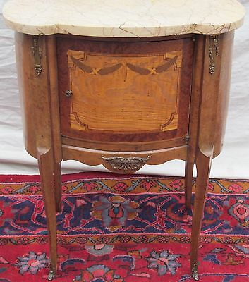French Louis Xv Style Marble Top Antique Nightstand - End Table
