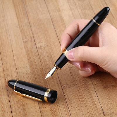 Jinhao 159 Black Lacquered Broad Nib Heavy Fountain Pen New Gold Trim UK