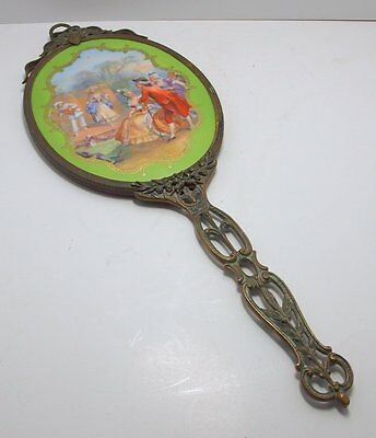 """Antique French Limoges Enamel 16"""" Hand Mirror Pierced Handle"""