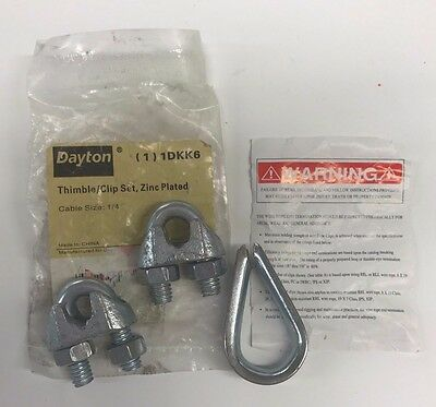 "New Dayton 1/4"" Thimble & Clip Set, Zinc Plated, 1DKK6, Free Shipping"